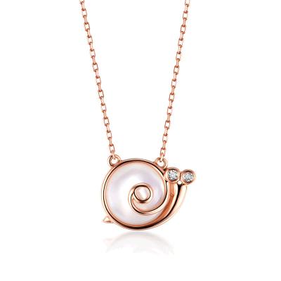 佐卡伊zocai玫瑰18k金钻石项链牌女款时尚新品锁骨链吊坠首饰蜗牛系列