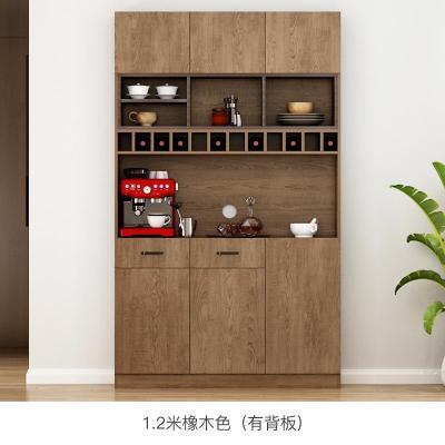 定制餐邊柜酒柜一體現代簡約柜子儲物柜客廳靠墻茶水廚房碗柜家用定制 1.2米E款/橡木色(有背板) 6門以上