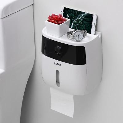 衛生紙盒衛生間紙巾廁紙置物架廁所家用免打孔創意防水抽紙卷紙筒 半透黑+白