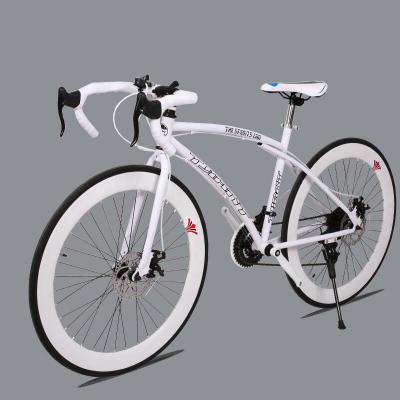 2018年春新款26寸21速變速死飛自行車男女款學生單車雙碟剎公路自行車黑白60刀彎把直把版