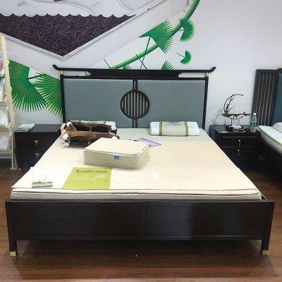 邁菲詩新中式禪意實木床1.8m民宿酒店別墅雙人床婚床現代官帽床家具定制
