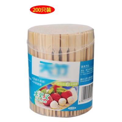 【一桶200只(9CM長)】一次性水果叉創意兒童甜品叉子竹木制沙拉簽果插廚房家用套裝
