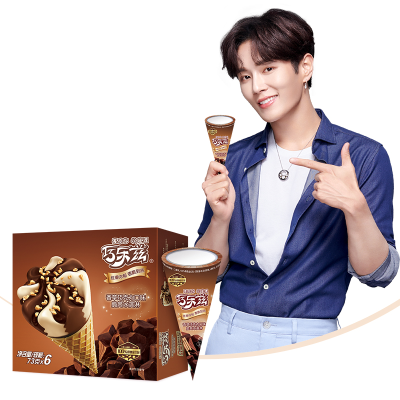 伊利巧樂茲脆筒冰淇淋抹茶芝士2盒+香草巧克力2盒+哈密瓜2盒冰激凌冷飲雪糕蛋筒