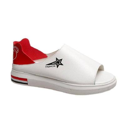 纖婗(QIANNI)夏秋魚嘴單鞋女學生鞋平底懶人涼拖鞋網紅新款軟面兩穿百搭小白鞋