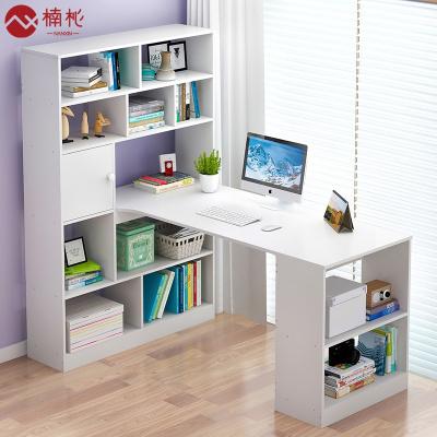 楠杺 電腦桌臺式家用書柜書桌一體書架組合簡約桌子學生轉角簡易寫字桌
