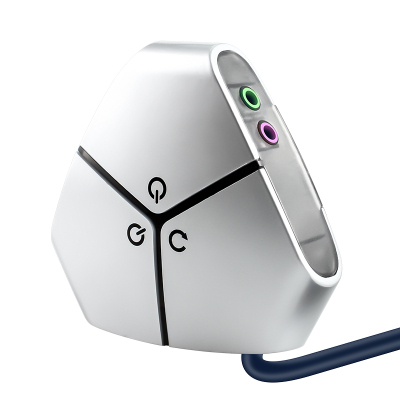 晶華 雙USB+雙頻桌面開關 網吧網咖家用臺式主機箱電腦外置移動電源開機重啟鍵按鈕延長線 銀色黏貼款