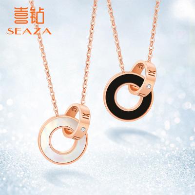 SEAZA喜鉆 鉆石項鏈女圓環吊墜時尚百搭鎖骨鏈 輕奢風玫瑰金色吊墜閨蜜禮物