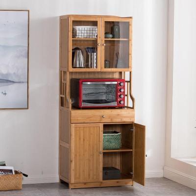 工匠时光厨房收纳柜子微波炉置物架储物实木餐边柜碗柜客厅茶水柜酒柜橱柜