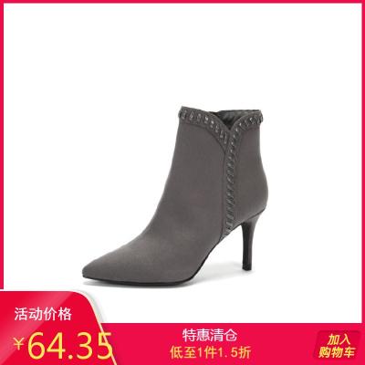 秋冬女靴子細跟高跟鞋短靴尖頭馬丁靴裸靴1017605192