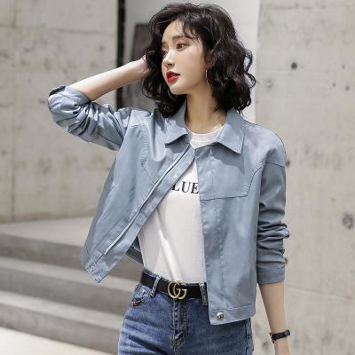 芷臻zhizhen2020春秋裝新款短款水洗PU皮衣小外套女韓版寬松顯瘦時尚皮夾克潮