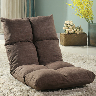 懒人沙发榻榻米可折叠单人小沙发床上电脑椅宿舍飘窗日式靠背椅定制! 咖啡色
