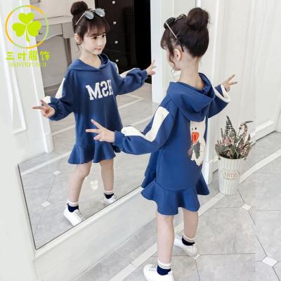 【精品特賣】女童長款衛衣2019新款韓版童裝洋氣秋裝裙子兒童春秋外套連帽潮童