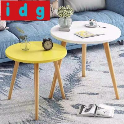 現代簡約小茶幾ins邊幾小圓桌 簡約小桌子臥室迷你實木圓形小邊桌沙發邊柜5907放心購