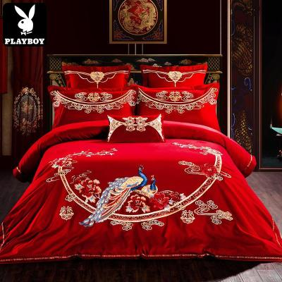 花花公子(PLAYBOY)60S長絨棉貢緞婚慶四件套大紅全棉刺繡結婚床品60支貢緞提花床上用品1.8m/2.0m