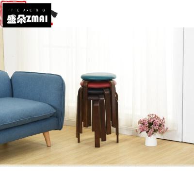简约实木餐凳小凳子圆凳矮凳家用客厅皮革麻布座面高脚凳小板凳-j08