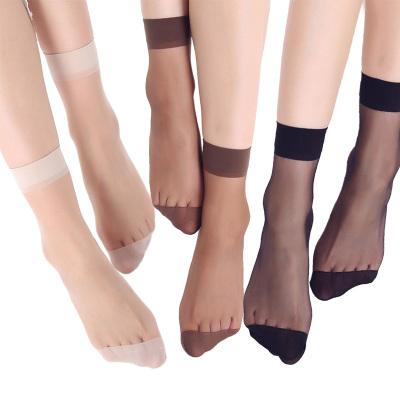 VEACOW【2雙裝】夏季水晶絲短襪女士透膚短筒襪