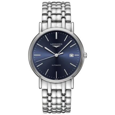 浪琴(Longines)瑞士手表 瑰丽系列 时尚 休闲 正装 自动机械 条丁蓝色表盘男士手表机械手表