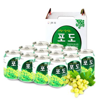 九日韓國進口飲品果肉果粒禮盒葡萄果汁整箱飲料批發238ml*12罐裝
