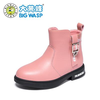 大黃蜂童鞋 兒童馬丁靴女童靴子2019新款3-9歲女孩冬季二棉鞋皮鞋