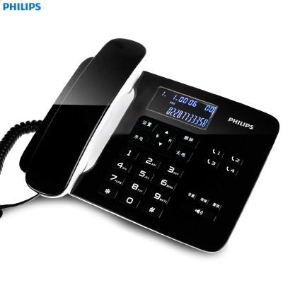 飛利浦(PHILIPS) CORD492 家用/辦公話機/有繩話機/來電顯示/來電報號/固定電話座機 (黑色)