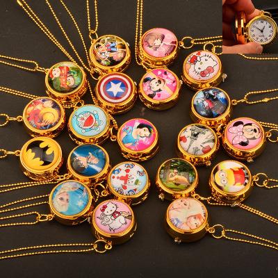 , 时尚 翻盖 怀表 可旋转 挂表 动漫 卡通 学生 女 项链表 儿童 个性 手表