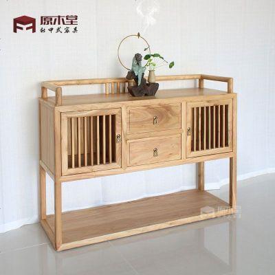 新中式實木餐邊柜老榆木玄關柜簡約禪意端景臺廳裝飾儲物柜定制