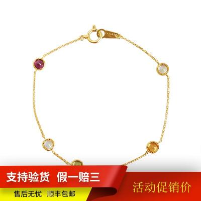 【正品二手95新】塔思琦(TASAKI)18K金鑲彩色寶石手鏈 17厘米左右 手鏈