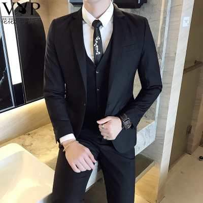 花花公子貴賓新款西服套裝男士職業伴郎韓版新郎結婚禮服商務正裝發型師外套修身休閑小西裝男