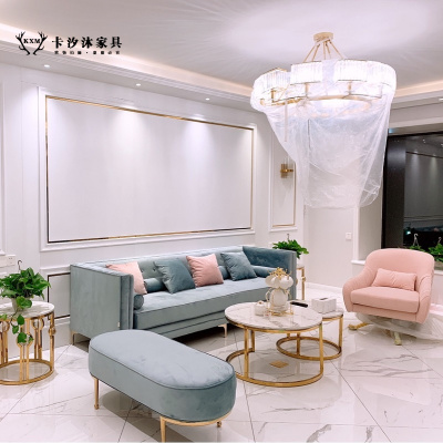 卡汐沐輕奢風布藝沙發小戶型簡約現代ins客廳三人絲絨沙發組合