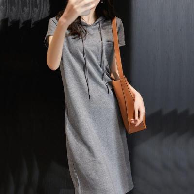 淘小逃【棉】2020夏季寬松顯瘦純色T恤連衣裙女裝學生韓版中長款仙女裙