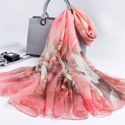 上海故事杭州絲綢高檔真絲圍巾女韓版百搭桑蠶絲絲巾長款春夏季薄紗巾