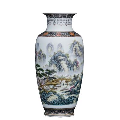 每日精進(enhancement)陶瓷花瓶子擺件景德鎮新中式復古家居客廳裝飾品山水花鳥仿古瓷器