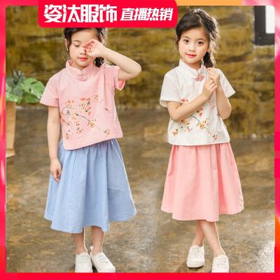 童裝兒童旗袍連衣裙2019夏裝新款寶寶漢服表演套裙女童民族風裙子