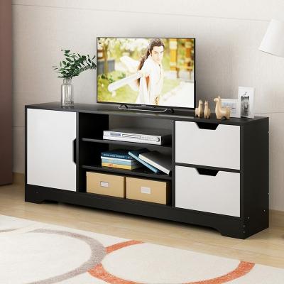 電視柜簡約現代小戶型電視機柜地柜組裝簡易客廳儲物柜子 一門兩抽黑框白斗增高款 組裝