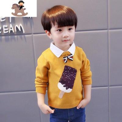 男童毛衣2019新款洋气套头秋冬款韩版衬衫领小中童童装毛衣针织衫  YueBin