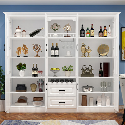 HOTBEE歐式酒柜靠墻多功能客廳餐邊柜櫥柜現代簡約落地式可定制