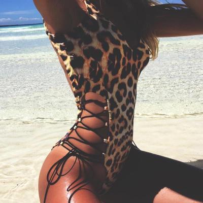熱賣歐美新款后背鏤空 性感豹紋吊帶連體衣,此商品不支持退換