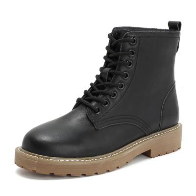 teenmix/天美意冬商場同款黑色牛皮革方跟馬丁靴女短靴AS521DD8
