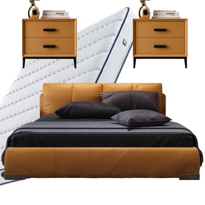 輕奢高箱儲物頭層牛皮真皮床主臥網紅INS簡約現代雙人床婚床1.8米
