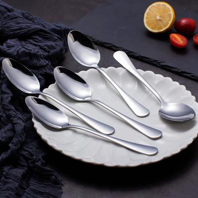 阳光飞歌 不锈钢餐具 西餐冰淇淋主餐勺子咖啡勺尖形饭勺大号 5支装