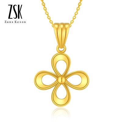 【送銀項鏈】ZSK珠寶 18K黃金吊墜女玫瑰金四葉草幸運項墜女士彩金項鏈花型掛墜 正品飾品 珠寶首飾 送女友禮物(定價)