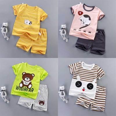 淘小逃夏季寶寶短袖套裝純棉嬰兒衣服兒童家居服夏裝男童短褲小孩睡衣潮