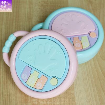 【品牌優選】寶寶音樂手拍鼓多功能投影拍拍鼓0-3歲嬰兒早教兒童搖鈴玩具 手拍鼓(送電池)