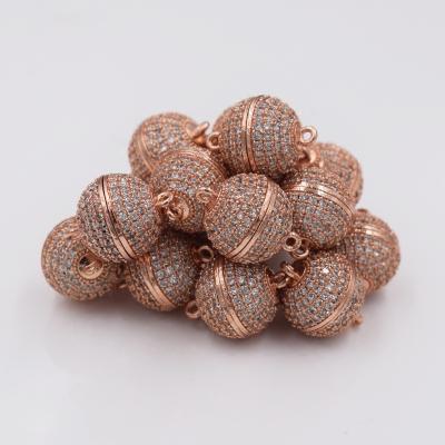 米魁手工材料diy配件珍珠手链项链连接扣饰品接头收尾扣子球形磁铁扣 10mm白金色