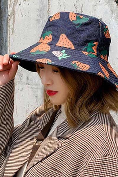 女士牛仔漁夫帽子女夏季韓版百搭潮遮臉網紅遮陽帽防曬太陽帽紅品HONGPIN雙面遮臉防紫外線盆帽