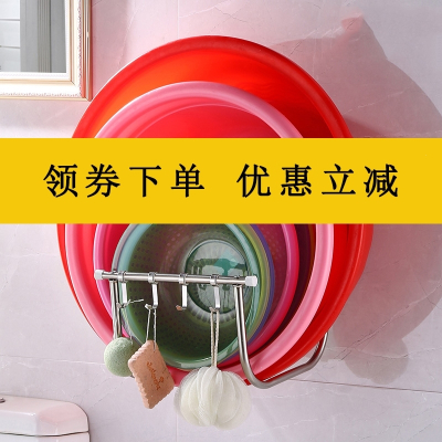 壁掛臉盆架不銹鋼免打孔衛生間置物架浴室吸壁式放洗臉盆收納架子