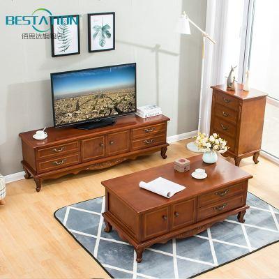 實木電視柜 現代簡約客廳小戶型北歐地柜臥室電視柜茶幾組合套裝
