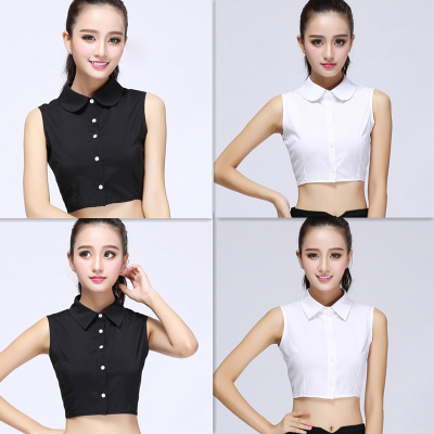 韓版娃娃假領子女襯衫假領百搭襯衣領黑白色純棉秋冬季蕾絲假衣領