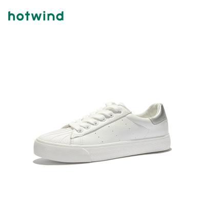 热风hotwind春季潮流时尚休闲鞋深口圆头拼色小白鞋H14W9102