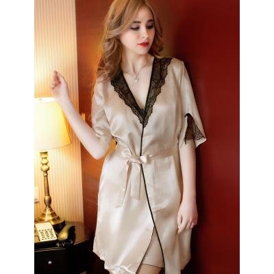 YUYI/原創 睡衣女性感2020夏季蕾絲絲綢睡裙女歐風冰絲大碼短袖睡袍兩件套裝
